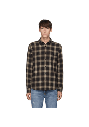 Frame Black and Brown Double Flap Pocket Shirt