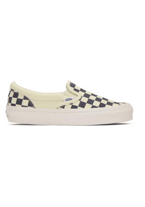 Vans Navy and Off-White Checkerboard Classic Slip-On Sneakers
