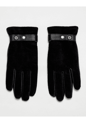 Dents Malton gloves in cord-Black