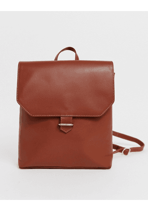 ASOS DESIGN leather backpack with slot through detail-Tan