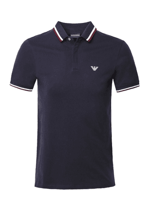 Armani Stretch Cotton Pique Twin Tipped Polo Shirt Colour: Navy