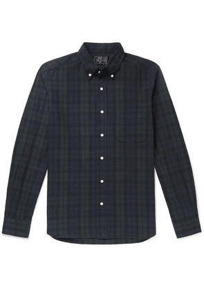 Beams Plus - Button-down Collar Checked Cotton And Linen-blend Flannel Shirt - Black
