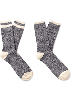 Beams Plus - Ragg Two-pack Striped Mélange Cotton Socks - Navy