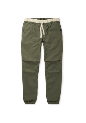 Beams Plus - Slim-fit Tapered Grosgrain-trimmed Cotton-blend Ripstop Drawstring Trousers - Army green