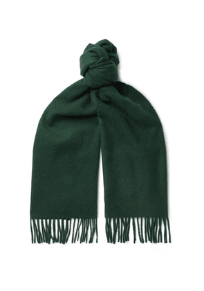 Anderson & Sheppard - Fringed Cashmere Scarf - Green