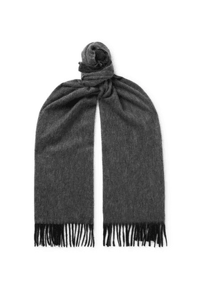 Emma Willis - Fringed Colour-block Cashmere Scarf - Gray