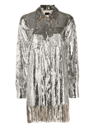 Pinko sequin embroidered shirt - SILVER