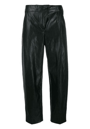 Cédric Charlier crinkled faux-leather trousers - Black
