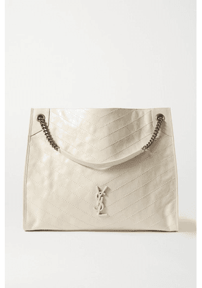 SAINT LAURENT - Niki Large Quilted Crinkled Glossed-leather Tote - White