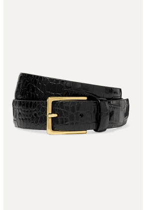Anderson's - Croc-effect Leather Belt - Black
