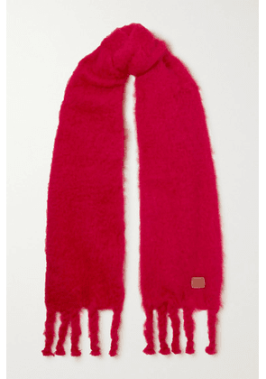 Loewe - Leather-trimmed Fringed Mohair-blend Scarf - Red