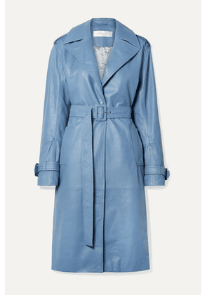 Victoria, Victoria Beckham - Belted Leather Trench Coat - Blue