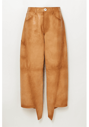 Lanvin - Asymmetric Cropped Leather Straight-leg Pants - Brown