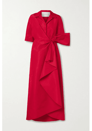 Carolina Herrera - Wrap-effect Bow-embellished Draped Silk-faille Gown - Red
