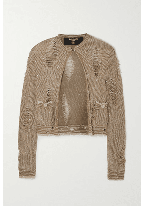 Balmain - Distressed Sequin-embellished Knitted Cardigan - Gold