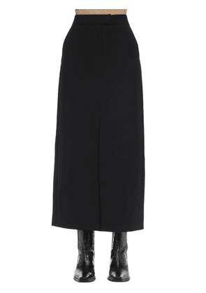 Long Wool Blend Skirt