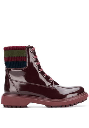 Geox varnished lace-up boots - Red