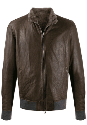 Barba distressed bomber jacket - Brown