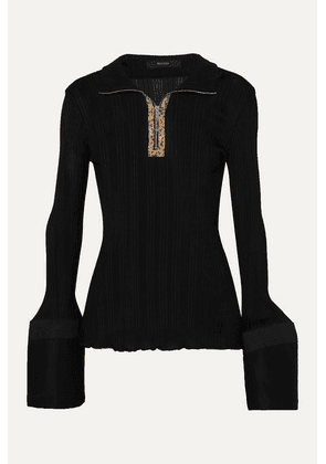 Ellery - Arcade Tulip Faux Leather-trimmed Cotton Poplin And Ribbed-knit Top - Black