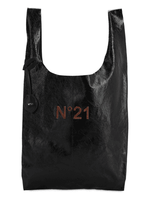 Logo Patched Leather Tote Bag