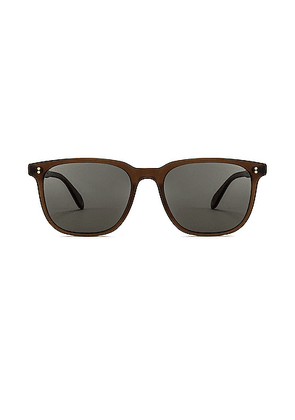 Garrett Leight Emperor 52 in Matte Espresso & Green Grey Polar - Brown. Size all.