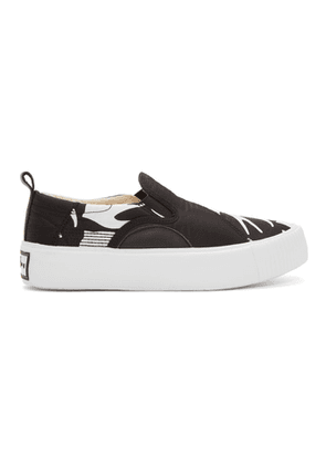 McQ Alexander McQueen Black and White Plimsoll Slip-On Sneakers