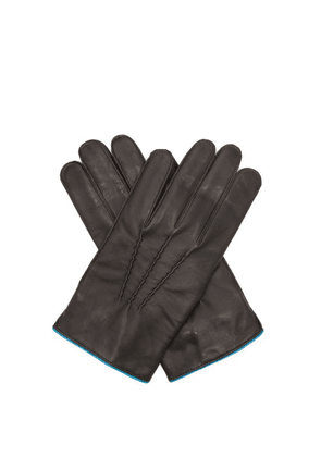 Dents - Newport Contrast-strap Leather Gloves - Mens - Black