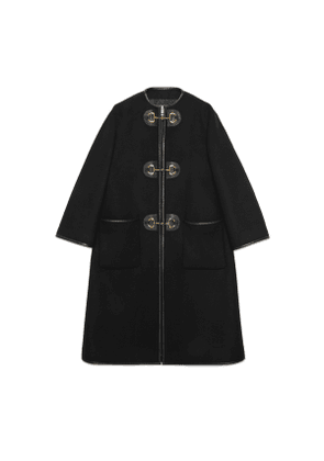 Wool coat with toggles
