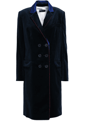 Piazza Sempione Double-breasted Satin-trimmed Cotton-blend Velvet Coat Woman Midnight blue Size 40