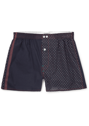 Anonymous Ism - Printed Cotton Boxer Shorts - Blue