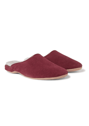 Derek Rose - Douglas Shearling-lined Suede Slippers - Burgundy