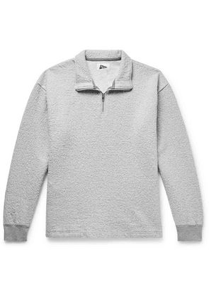 Pilgrim Surf + Supply - Leon Double-faced Crinkled Cotton And Wool-blend Half-zip Sweatshirt - Light gray