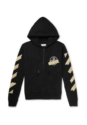 Off-White - Printed Loopback Cotton-jersey Zip-up Hoodie - Black