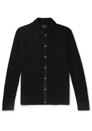 Dunhill - Suede-trimmed Ribbed Merino Wool Cardigan - Black