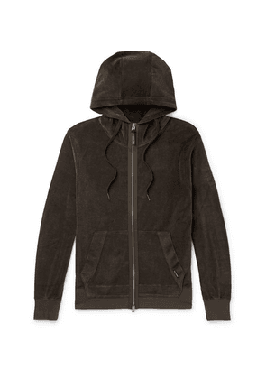 TOM FORD - Cotton-blend Velvet Zip-up Hoodie - Army green