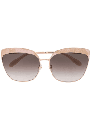 Blumarine lace detail butterfly sunglasses - GOLD