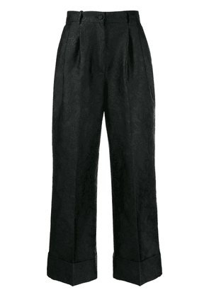 Dolce & Gabbana jacquard cropped flared trousers - Black
