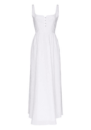 Esteban Cortazar button cotton midi dress - White