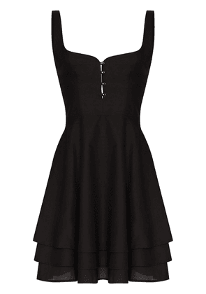 Esteban Cortazar tiered button cotton dress - Black