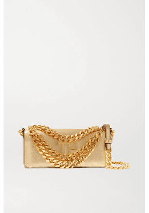 TOM FORD - Triple Chain Small Embellished Metallic Leather Shoulder Bag - Gold