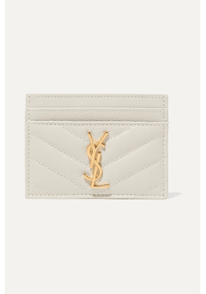 SAINT LAURENT - Quilted Textured-leather Cardholder - Off-white