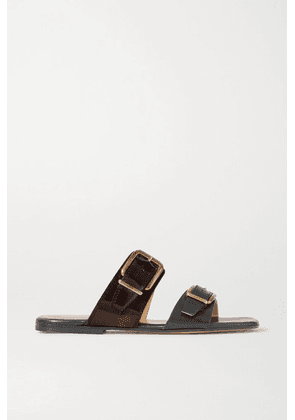 Dries Van Noten - Buckle-detailed Smooth And Patent-leather Slides - Black