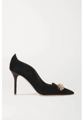 Malone Souliers - Alessia 85 Embellished Leather-trimmed Suede Pumps - Black