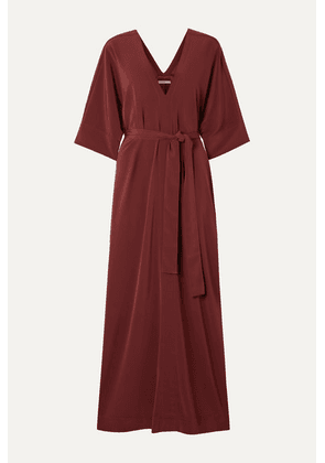 Co - Oversized Belted Crepe Kaftan - Plum