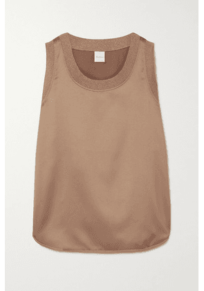Max Mara - Leisure Roseto Ribbed Knit-trimmed Satin Tank - Sand