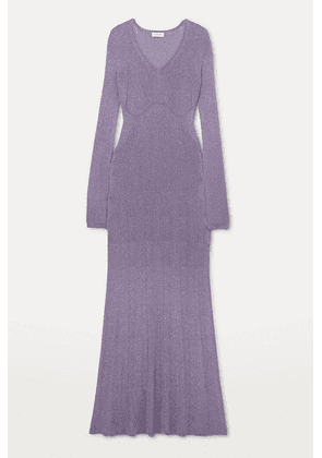 Lanvin - Ribbed Lurex Midi Dress - Lilac