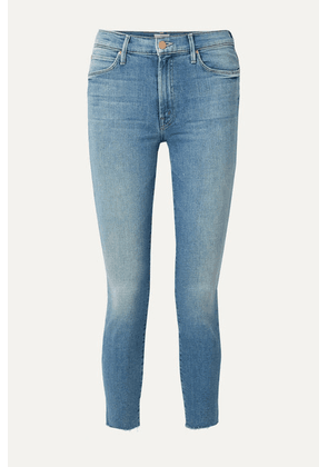 Mother - The Stunner Cropped Distressed High-rise Skinny Jeans - Light denim
