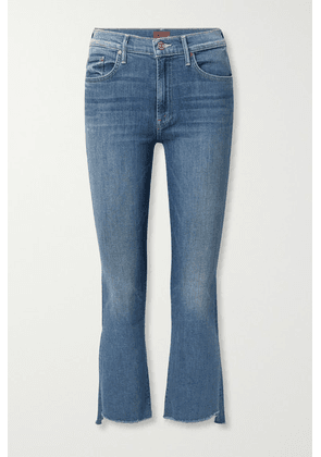 Mother - The Insider Frayed Cropped High-rise Flared Jeans - Dark denim