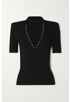 Balmain - Lace-up Ribbed-knit Top - Black