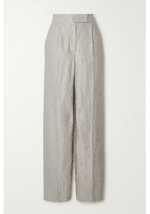 Brunello Cucinelli - Metallic Linen-blend Straight-leg Pants - Silver